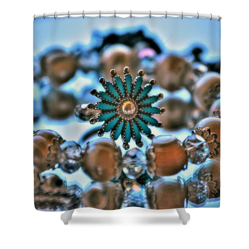 Shower Curtain featuring the photograph 0001 Turquoise And Pearls by Michael Frank Jr