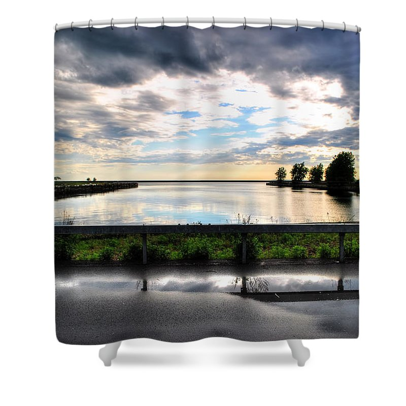 Shower Curtain featuring the photograph 03 Reflecting by Michael Frank Jr