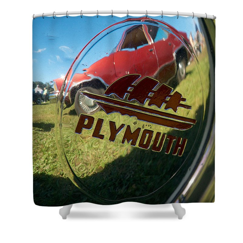1947 Plymouth Coupe Shower Curtain featuring the photograph 1947 Plymouth Coupe Hubcap by Mark Dodd