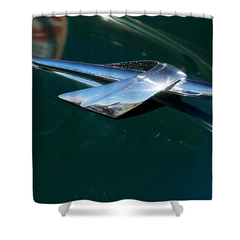Antique Shower Curtain featuring the photograph 1950 Mercury Hood Ornament by Mark Dodd
