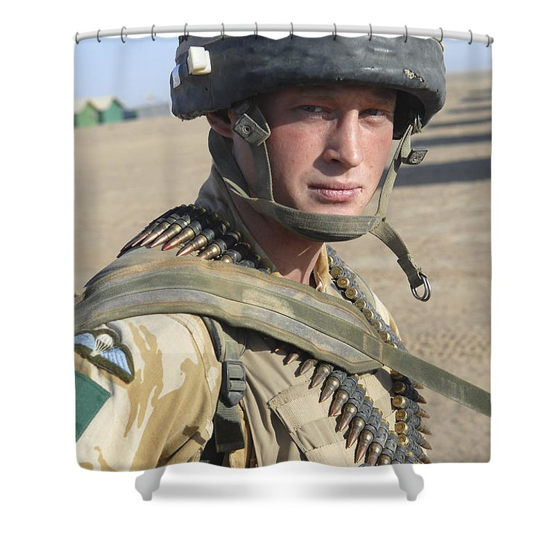Foreign Military Shower Curtain featuring the photograph A British Army Soldier Provides by Andrew Chittock