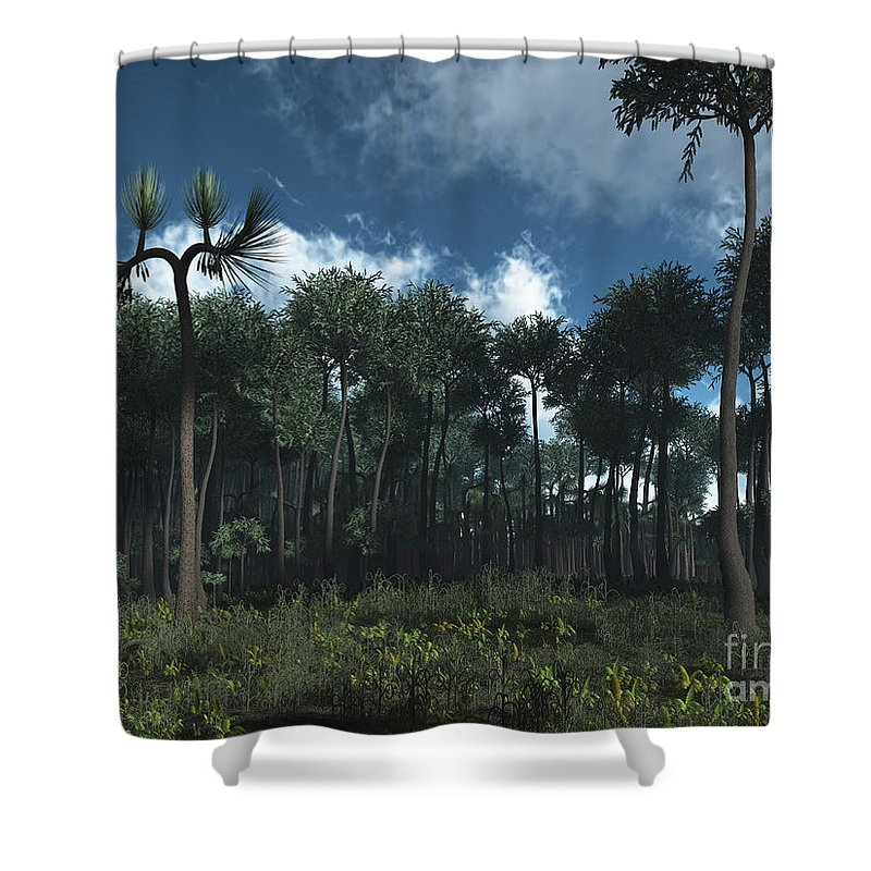 Earth Shower Curtain featuring the digital art A Carboniferous Forest Of Midwestern by Walter Myers