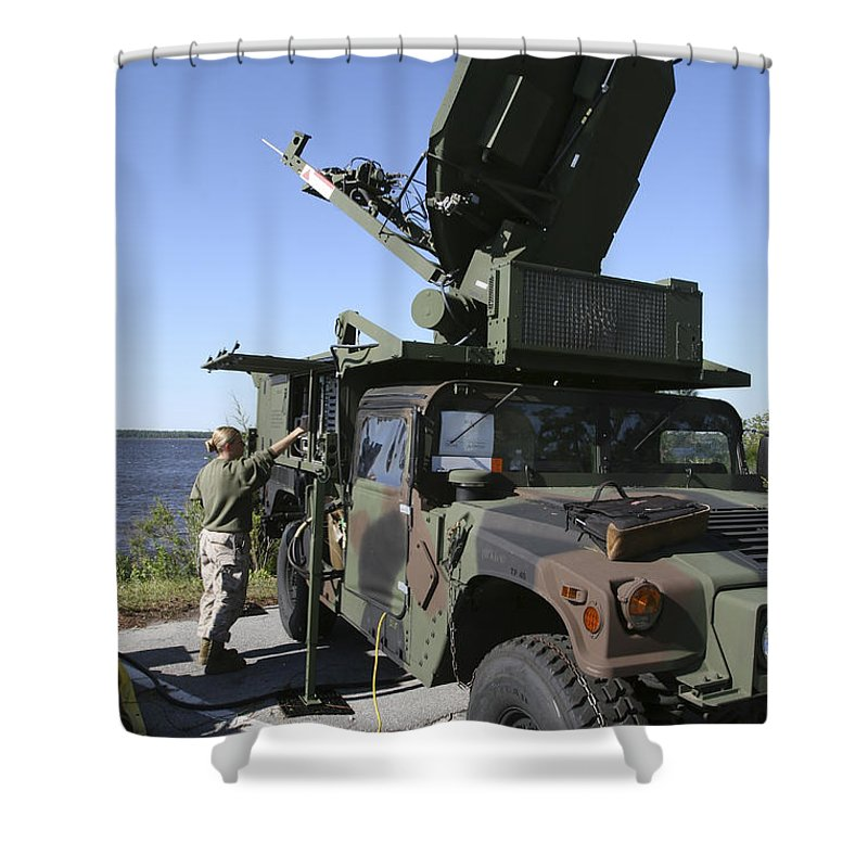 Surveillance Shower Curtain featuring the photograph A Phoenix Tactical Satellite Terminal by Stocktrek Images