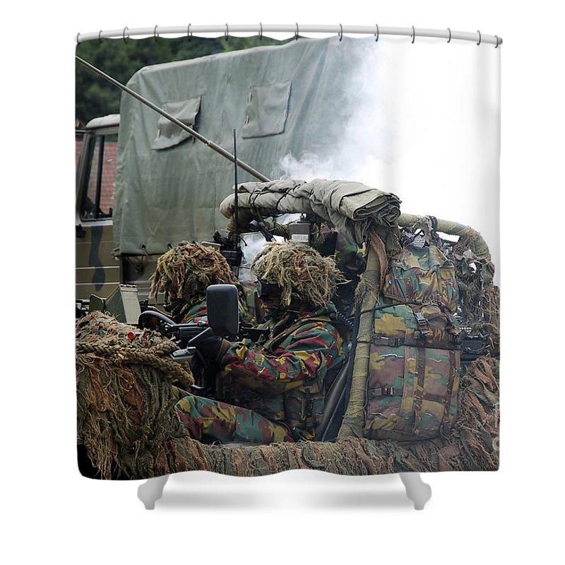 Adults Only Shower Curtain featuring the photograph A Recce Or Scout Team Of The Belgian by Luc De Jaeger