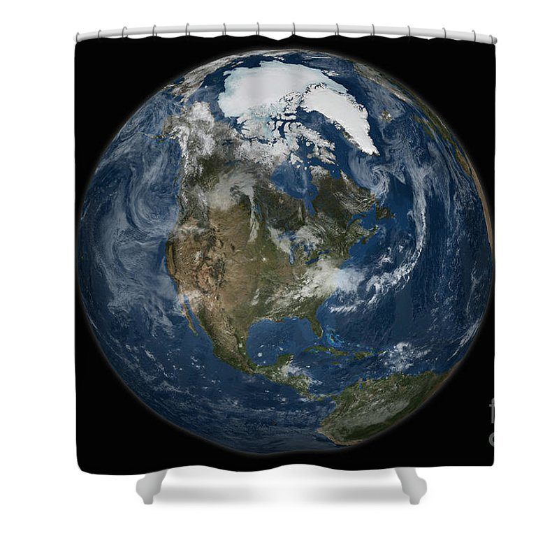 Arctic Shower Curtain featuring the photograph A View Of The Earth With The Full by Stocktrek Images