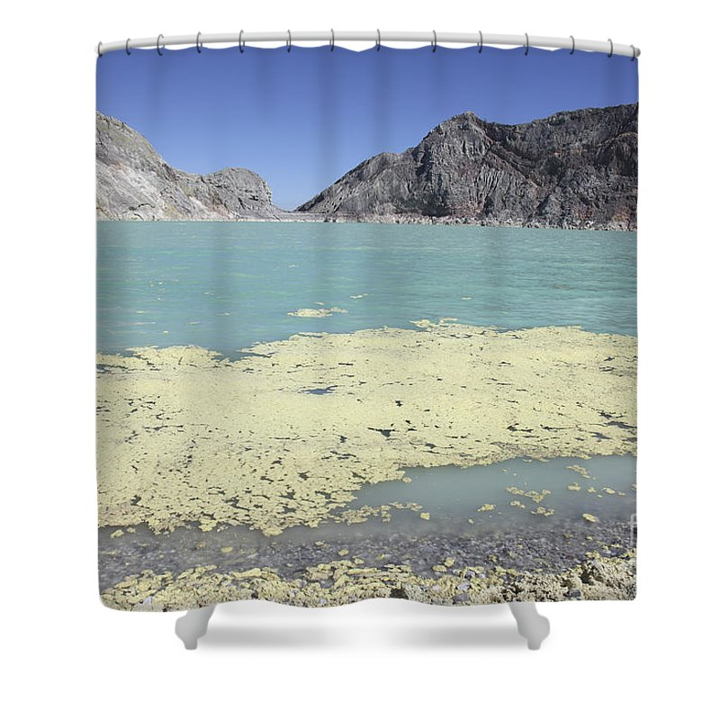 Java Shower Curtain featuring the photograph Acidic Crater Lake, Kawah Ijen Volcano by Richard Roscoe