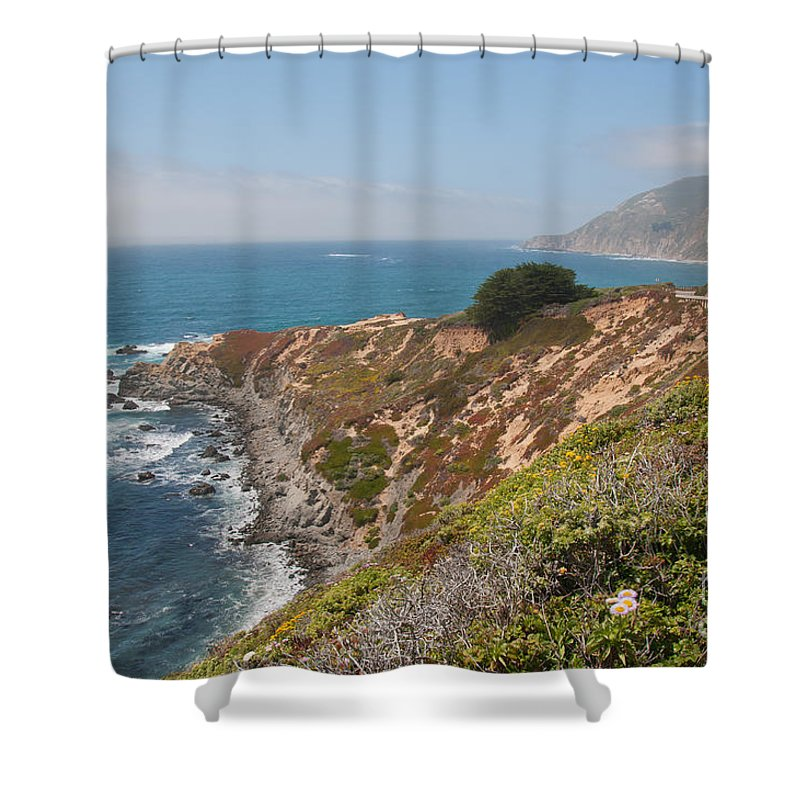 Beach Shower Curtain featuring the digital art Along Big Sur by Carol Ailles