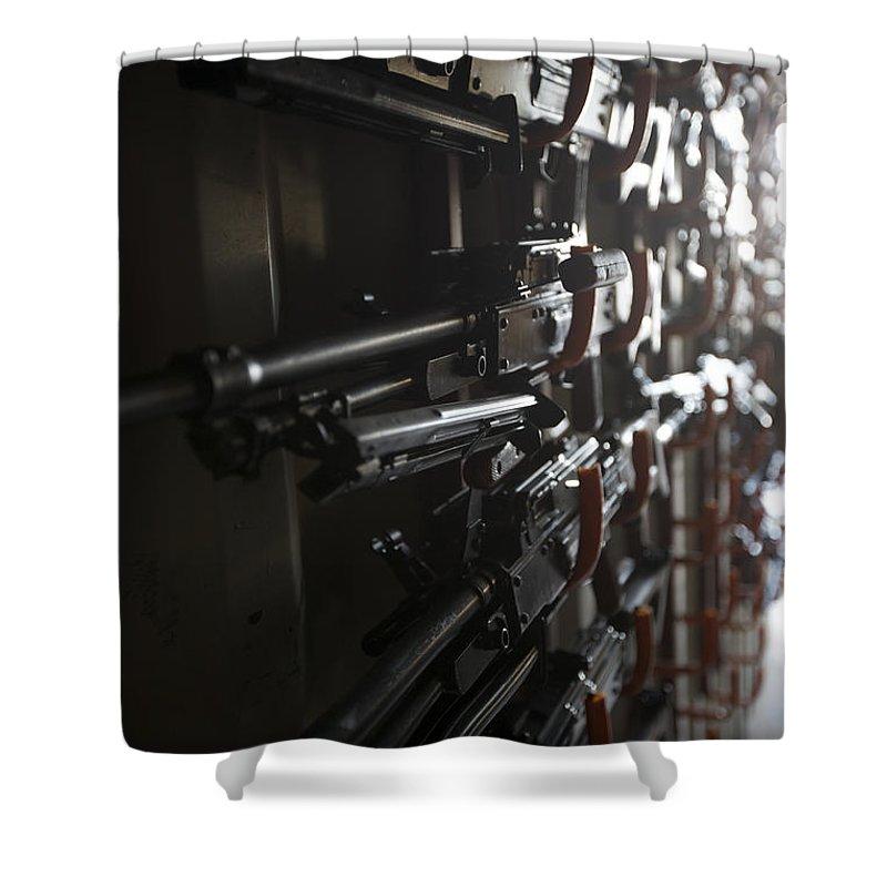 Pk Machine Gun Shower Curtain featuring the photograph An Armory Of Pk Machine Guns Designed by Terry Moore