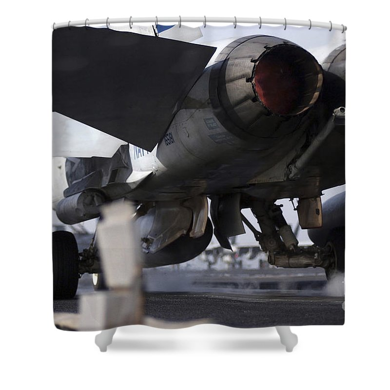 Horizontal Shower Curtain featuring the photograph An Fa-18c Hornet Launches by Stocktrek Images