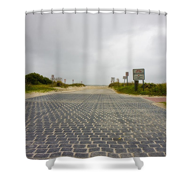 Topsail Shower Curtain featuring the photograph Arriving At The End by Betsy Knapp