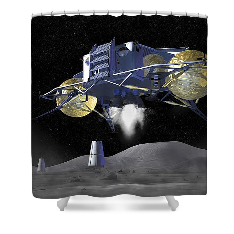 Activity Shower Curtain featuring the digital art Artists Rendering Of Future Space by Stocktrek Images