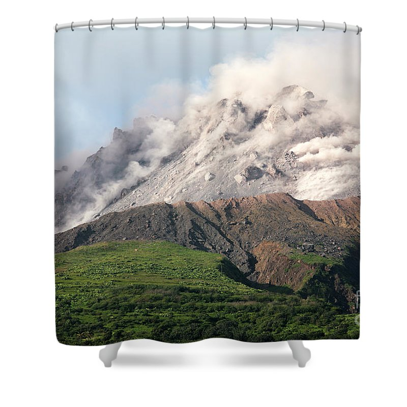 Active Volcano Shower Curtain featuring the photograph Ash And Gas Rising From Lava Dome by Richard Roscoe