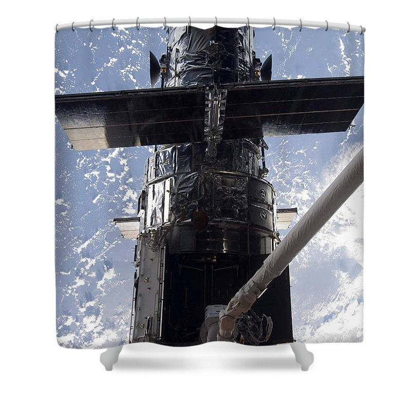 Artificial Satellites Shower Curtain featuring the photograph Astronaut Working On The Hubble Space by Stocktrek Images