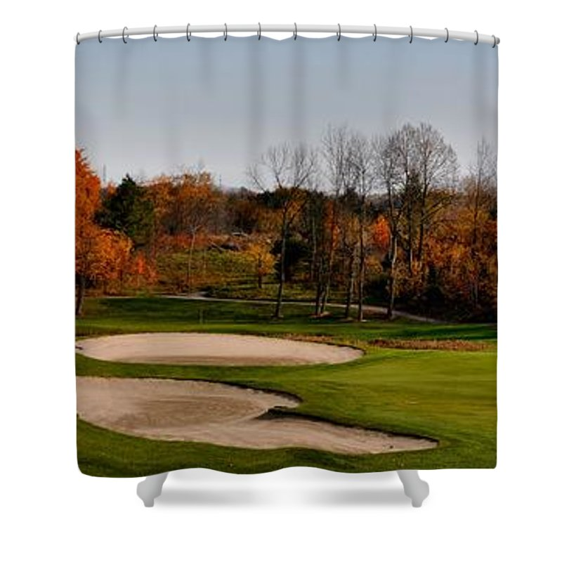 Nobleton Lakes Golf Shower Curtain featuring the photograph Autumn Golfing by Andrea Kollo