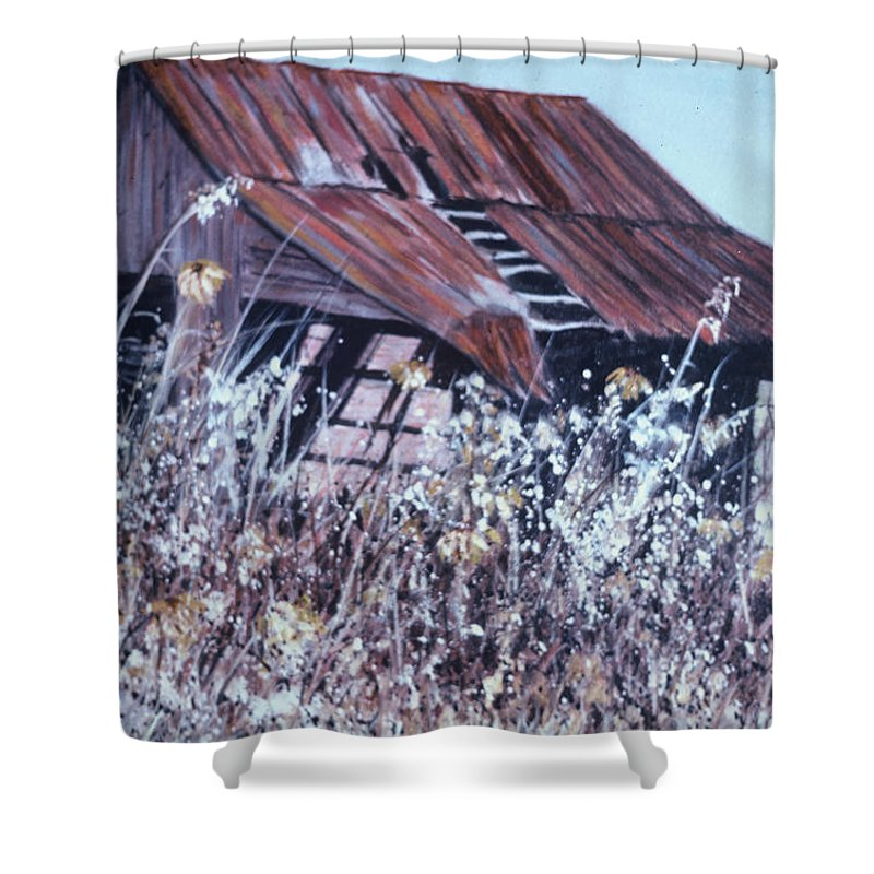 Rustic Shower Curtain featuring the painting Barn in Sunlight by Ben Kiger