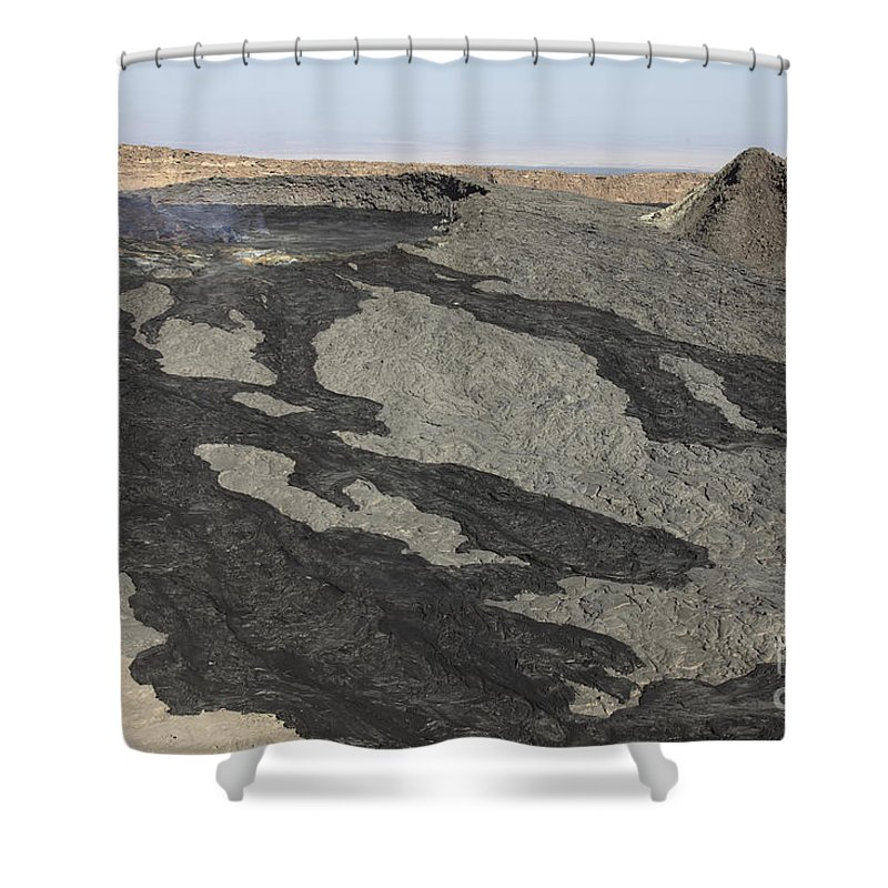 Igneous Rocks Shower Curtain featuring the photograph Basaltic Lava Flow From Pit Crater by Richard Roscoe