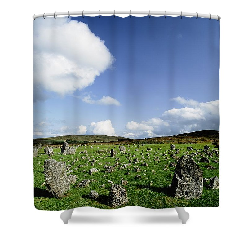 Archeology Shower Curtain featuring the photograph Beaghmore Stone Circles, Co. Tyrone by The Irish Image Collection