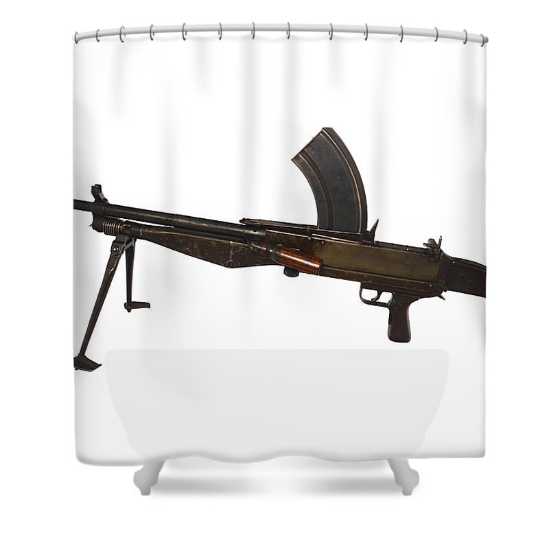 Single Object Shower Curtain Featuring The Photograph Besal Light Machine Gun By Andrew Chittock