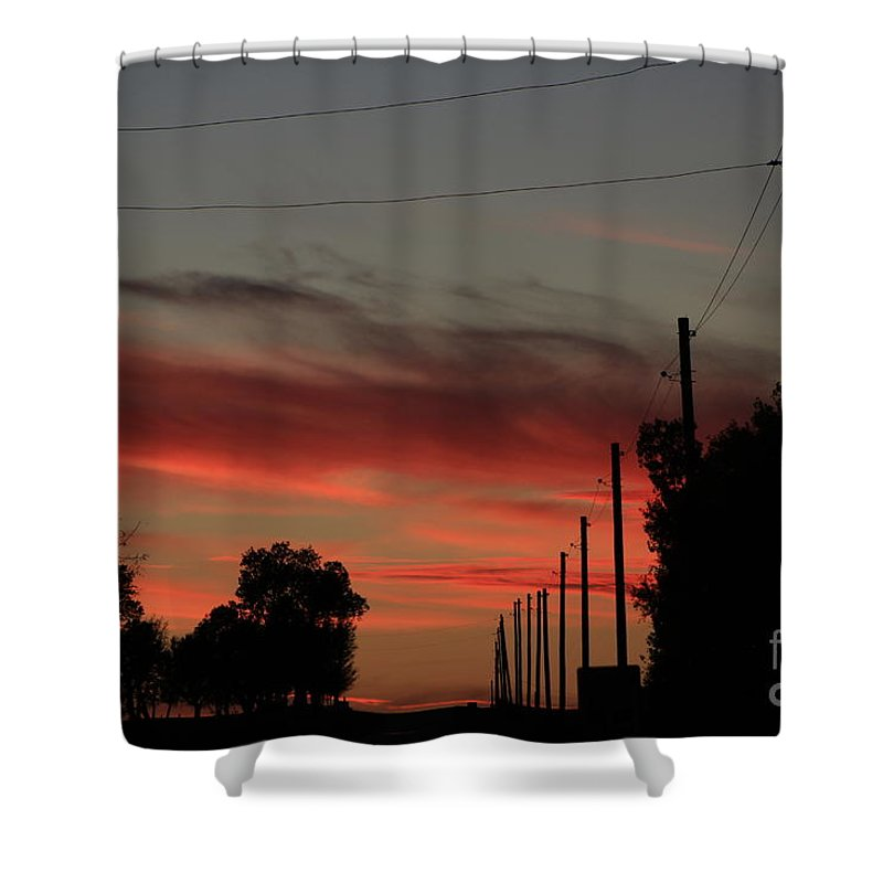 Sunset Shower Curtain featuring the photograph Blazing Red Country Road Sunset by Robert D Brozek