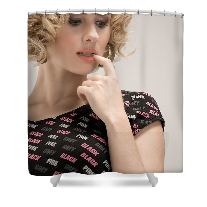 Fashion Shower Curtain featuring the photograph Blond Lady by Ralf Kaiser