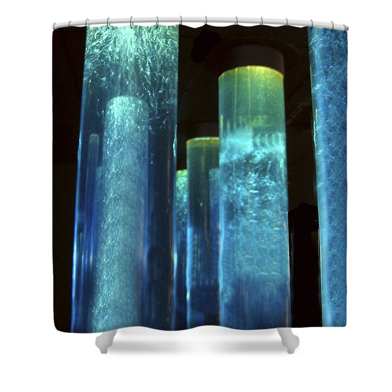 Blue Tubes Shower Curtain featuring the photograph Blue Tubes by Denise Keegan Frawley