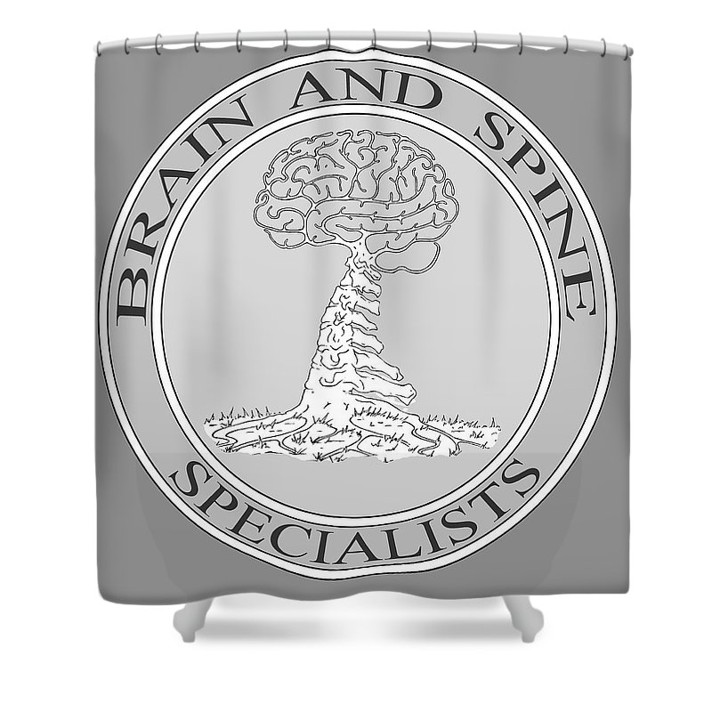Brain Shower Curtain featuring the digital art Brain and Spine Specialist by Robert Fenwick May Jr