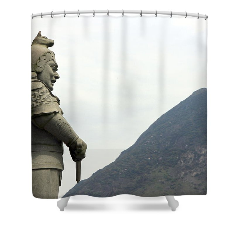 Buddhism Shower Curtain featuring the photograph Buddhist Temple Statue by Valentino Visentini