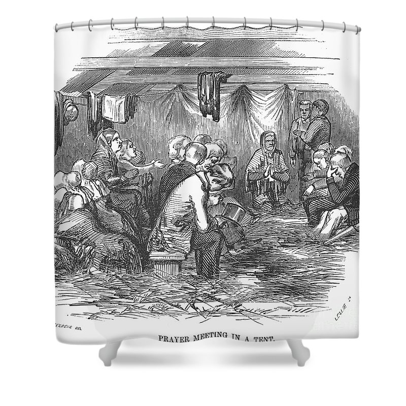 1852 Shower Curtain featuring the photograph Camp Meeting, 1852 by Granger