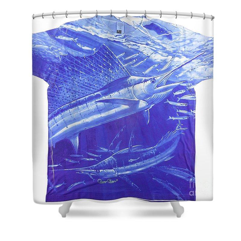 Sailfish Shower Curtain featuring the digital art Carey Chen Mens Sailfish Shirt by Carey Chen