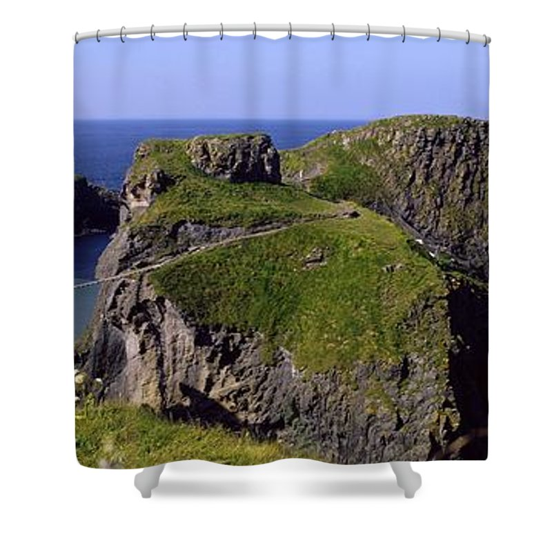 Beauty In Nature Shower Curtain featuring the photograph Carrick-a-rede Rope Bridge, Co. Antrim by The Irish Image Collection