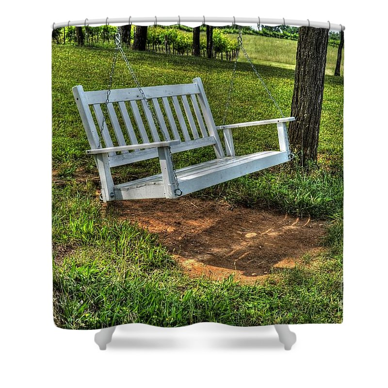 Swing Shower Curtain featuring the photograph Chillin by Debbi Granruth