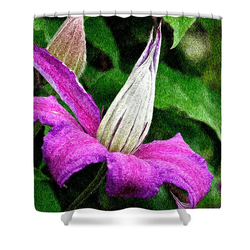 Flower Shower Curtain featuring the photograph Clematis by Jean Noren