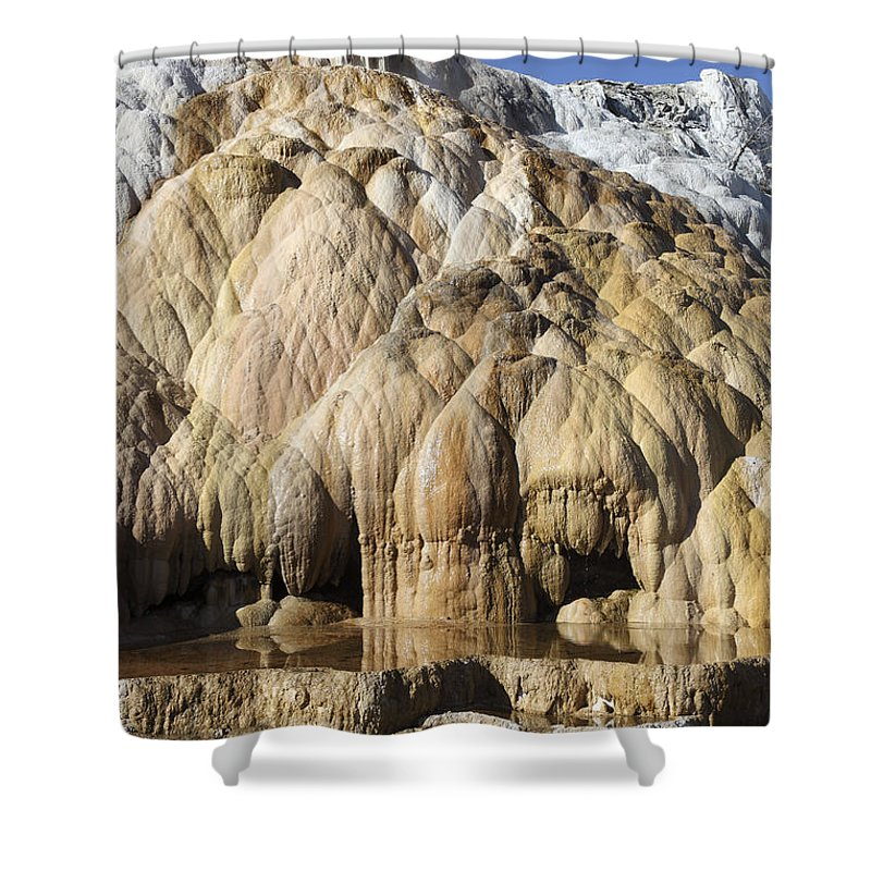 Unesco Shower Curtain featuring the photograph Cleopatra Terrace, Mammoth Hot Springs by Richard Roscoe