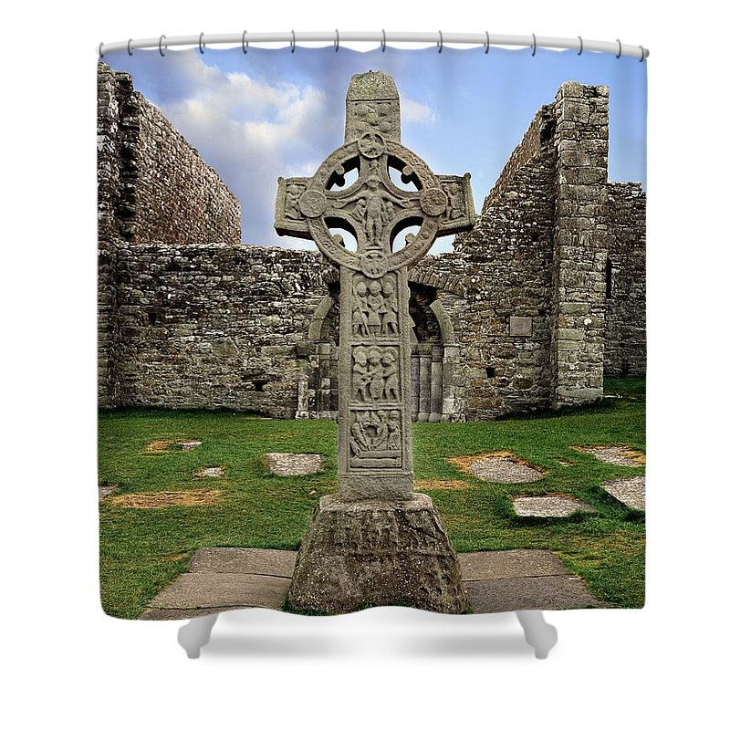 Architectural Exteriors Shower Curtain featuring the photograph Clonmacnoise, Co. Offaly, Ireland by The Irish Image Collection
