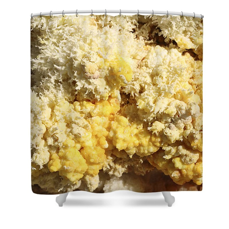 Full Frame Shower Curtain featuring the photograph Close-up Of Yellow Salt Crystals by Richard Roscoe