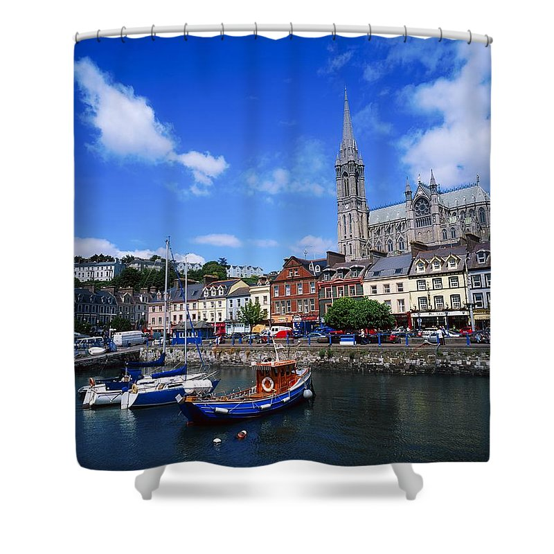Blue Sky Shower Curtain featuring the photograph Cobh Cathedral & Harbour, Co Cork by The Irish Image Collection
