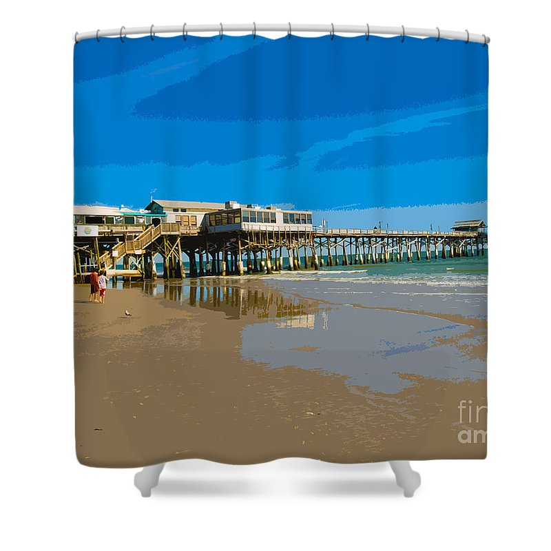 Pier Shower Curtain featuring the painting Cocoa Beach Pier Florida by Allan Hughes
