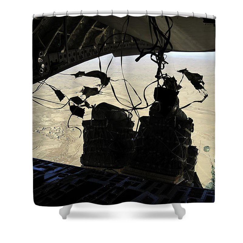 Airdrop Shower Curtain featuring the photograph Container Delivery System Bundles Exit by Stocktrek Images