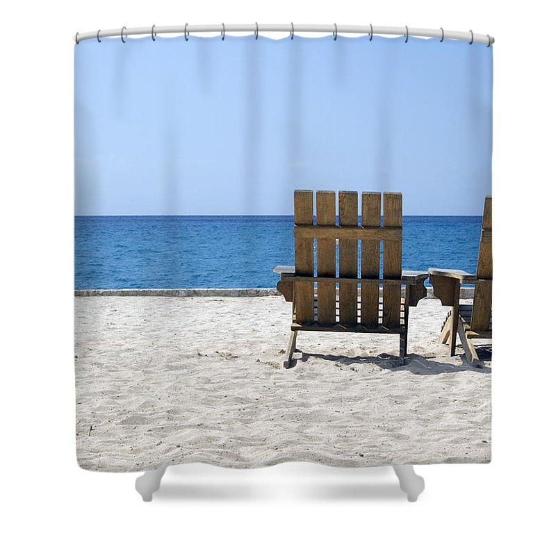 Cozumel Mexico Beach Chairs And Blue Skies Shower Curtain For Sale By Shawn OBrien
