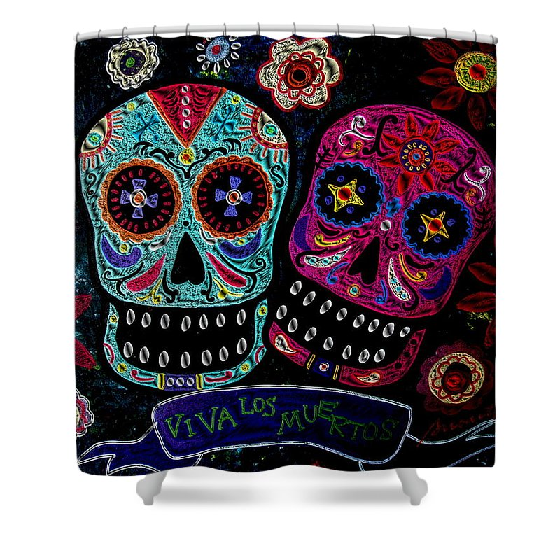 Day Of The Dead Shower Curtain featuring the painting Day Of The Dead Couple by Pristine Cartera Turkus