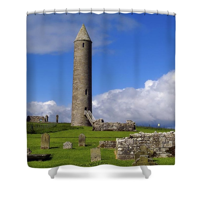 Architectural Exteriors Shower Curtain featuring the photograph Devenish Monastic Site, Co. Fermanagh by The Irish Image Collection