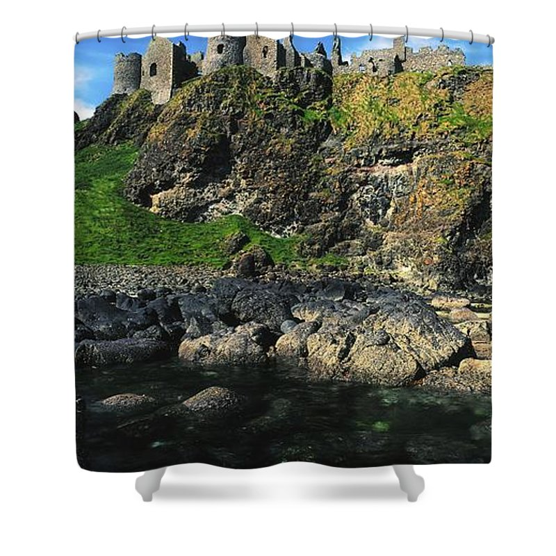 Ancient Civilization Shower Curtain featuring the photograph Dunluce Castle, Co Antrim, Ireland by The Irish Image Collection