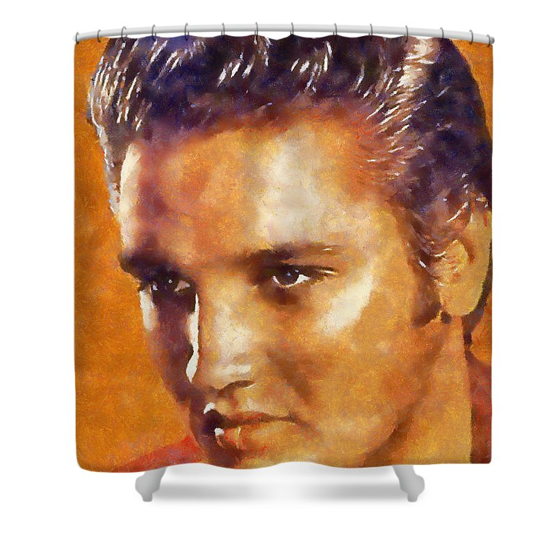 Elvis Shower Curtain featuring the digital art Elvis Presley by Galeria Trompiz