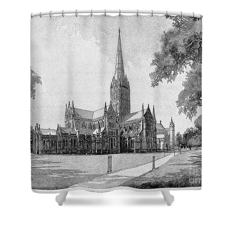 13th Century Shower Curtain featuring the photograph England: Salisbury by Granger