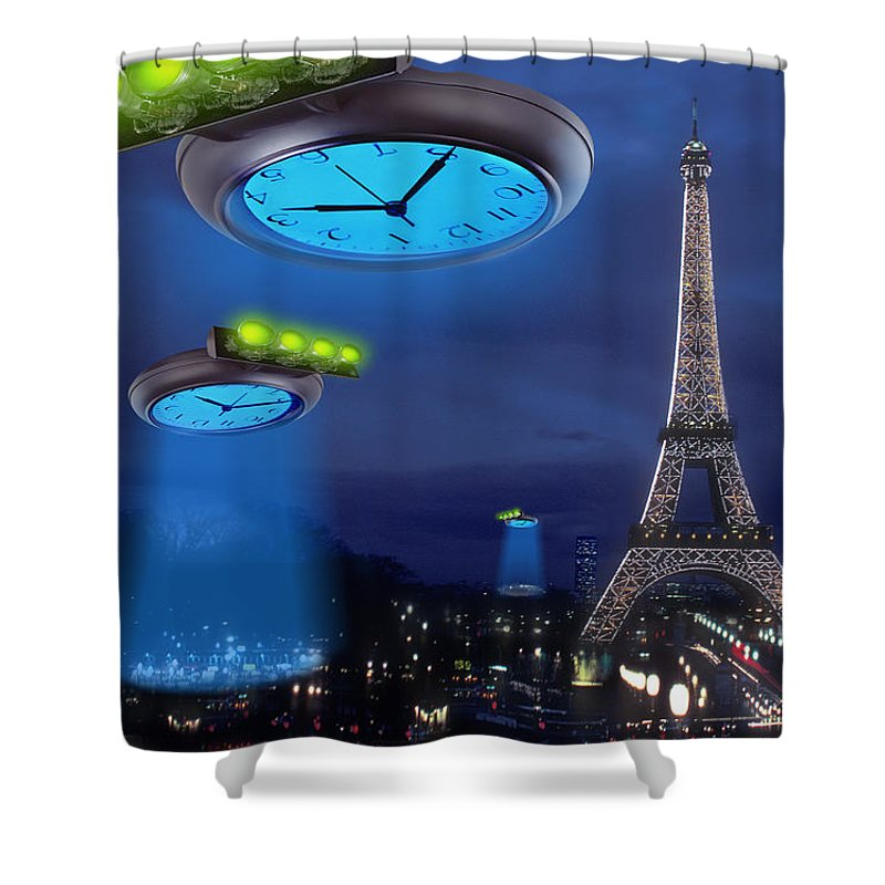 European Time Traveler Shower Curtain featuring the photograph European Time Traveler by Mike McGlothlen