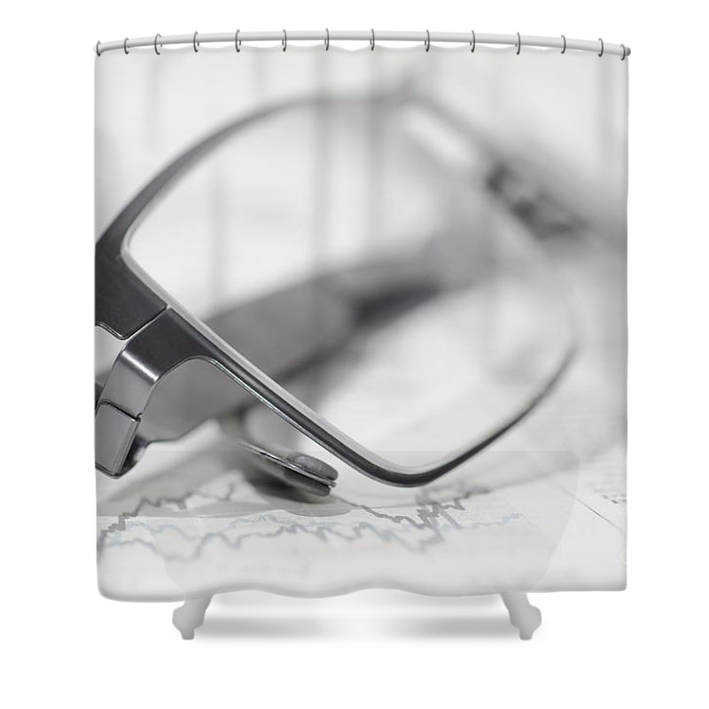 Finance Shower Curtain featuring the photograph Eyeglasses by Mats Silvan