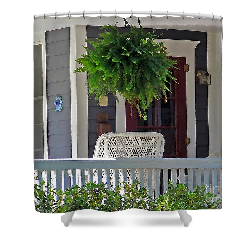 Fern Shower Curtain featuring the photograph Fern On Front Porch by Jack Schultz