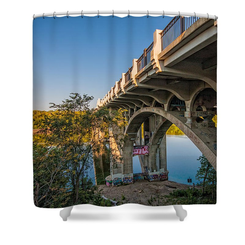 Bridge River Minnesota Sky Water Trees Graffiti Saint Paul Shower Curtain featuring the photograph Ford Parkway Bridge by Tom Gort
