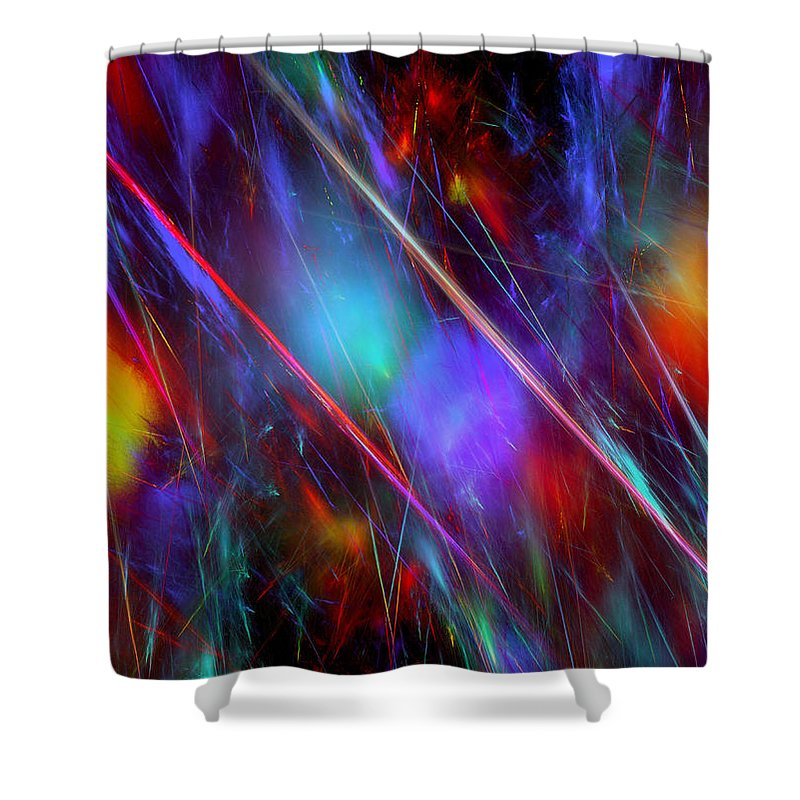 Fractal Invasion Explosion Color Colorful Strokes Stroke Light Lights Expressionism Modern Digital Painting Art Shower Curtain featuring the digital art Fractal Invasion by Steve K