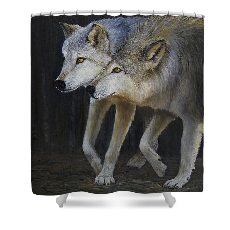 Wolf Shower Curtain featuring the painting Friends by Dee Carpenter